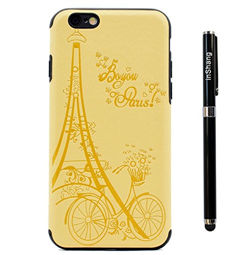 "inShang iPhone 7 4.7"" Funda y Carcasa para iPhone 7 4.7 inch case iPhone7 4.7 inch móvil,Ultra delgado y ligero Material de TPU,carcasa posterior (Back case) con , + clase alta 2 in 1 inShang marca ne Yellow tower"