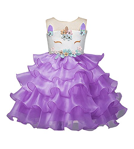 Satin Sundress - WEONEDREAM Pearl Floral Prom Girls Dress Casual Occasion Puffy Dresses for Girls Satin Sash Summer Sundress Child Evening Dresses for Girl Size for 3-4T Princess Dress for Girl (Pruple 120)