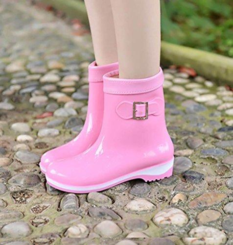 Pink Women's Booties Rain Boots Rubber Wellington LvRao Shoes Waterproof Wellies Snow PwvtFZq