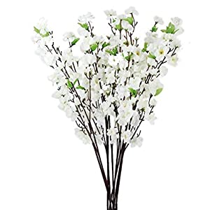 Tinksky Artificial Cherry Plum Peach Blossom Spray Branch Silk Flowers Tree – 10 Pieces