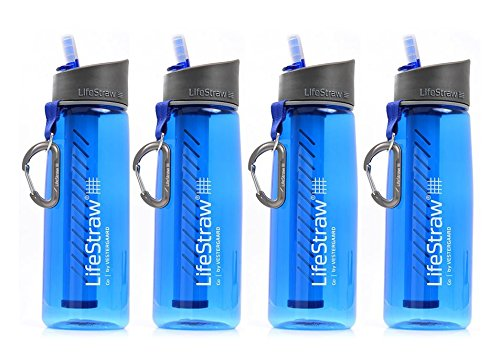 LifeStraw Go Water Bottle 2-Echelon with Integrated 1,000 Liter LifeStraw Filter and Activated Carbon with Bonus Survival Kit