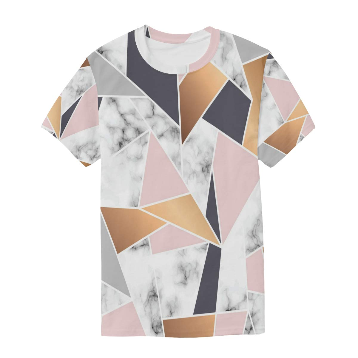 Horatiood Huberyyd Geometric Mosaic of Marble Mens T Shirts Graphic Funny Body Print Short T-Shirt Unisex Pullover Blouse