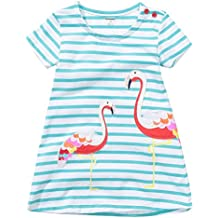 Fiream Girls Summer Applique Cotton Short Sleeves Casual Striped Dresses