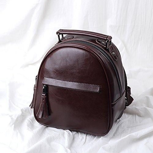Simple mini mochila bandolera con flecos de cuero retro caqui Coffee