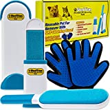 ShedTitan Pet Hair Remover & Grooming Gloves Kit - Easy, Reusable Fur & Lint Removal Brush with Self -Cleaning Base - Removes Dog, Cat Fur & Lint from Furniture, Clothes, Couch, Car Seat, Bed, Carpet