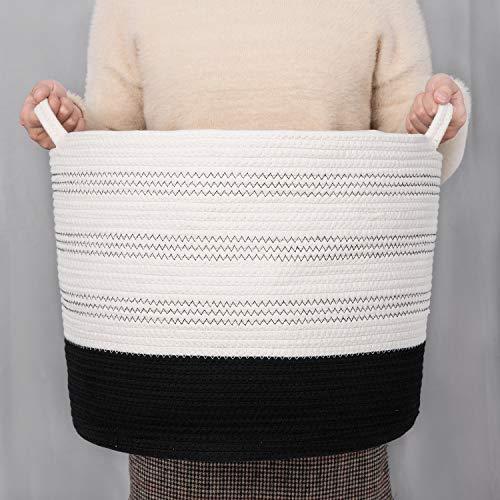 Extra Large Toy Storage Basket Large Soft Basket Storage for Living Room - Cotton Woven Blanket Basket - Round Laundry Basket 1615 Runka