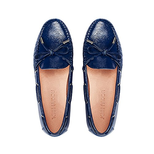JENN ARDOR Penny Loafers for Women: Vegan Leather Slip-On Comfortable Driving Moccasins Flats (5.5, Blue) from JENN ARDOR