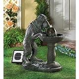 Whimsical Faux-Bronze Thirsty Dog Outdoor Yard Garden Decor Solar Water Pump Cascading Fountain