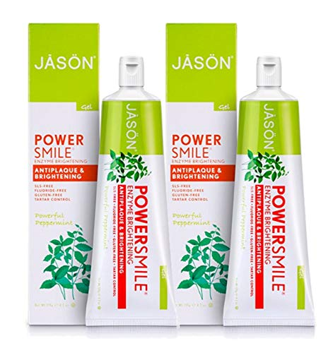 Jason PowerSmile Enzyme Brightening Toothpaste Fluoride-Free (Powerful Peppermint): 2 Pack - 4.2 oz ()