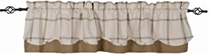 Home Collections by Raghu Cream-Oat Bexley Check Fairfield Valance