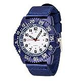 WOLFTEETH Water Resistant Analog Quartz White Dial Blue Band Sport Military Boy Wrist Watch #3017