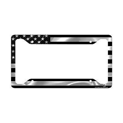 Airstrike Black American Flag License Plate Frame, American Flag Car Tag Frame, US License Plate Frame, United States Flag License Plate Frame-30-766: Automotive