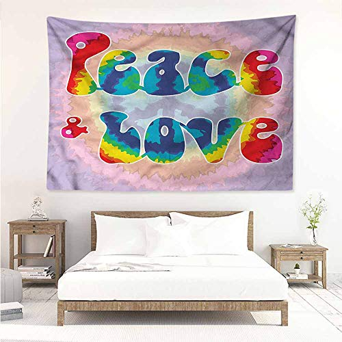Sunnyhome Decorative Tapestry,Groovy Youth Peace Love Tie Dye,Living Room Background Decorative Painting,W71x59L -