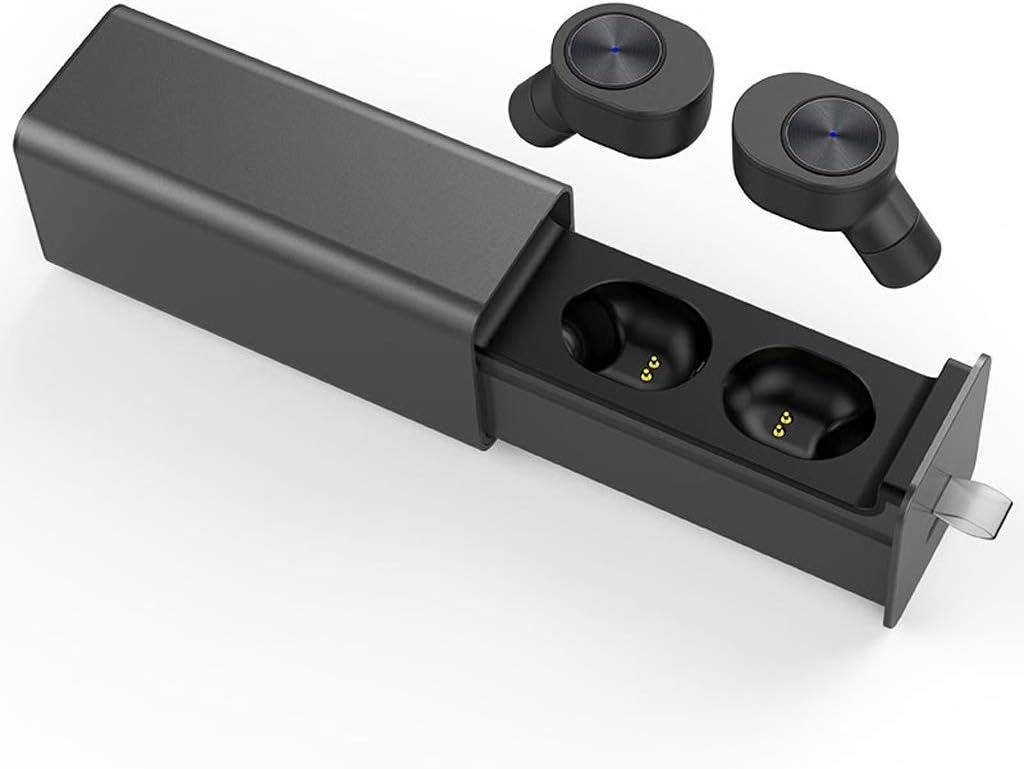 OPmeA Auricular inalámbrico Bluetooth 4.2 con micrófono Estéreo Auriculares Deportivos Auriculares con cancelación de Ruido Auriculares con Estuche de Carga (Color : Negro)