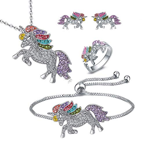 4MEMORYS Rainbow Unicorn Jewelry Set Including Pendant Necklace, Bracelet Rhinestone Crystal Rhodium Plated Women Girls Unicorn Gift Set (4pcs Set)