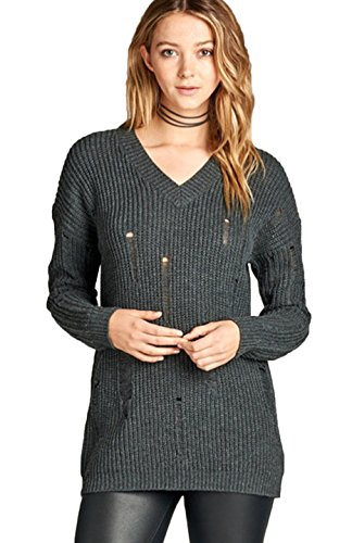 71d6c86a29 Galleon - 2LUV Women s Long Dropped Sleeve V-Neck Distressed Knit Sweater  Tunic Top Charcoal Grey S(SW2672)