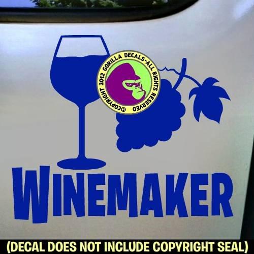 WINEMAKER Wine Maker Making Winery Occupation Job Vinyl Decal Sticker Car Window Door Wall Sign ()