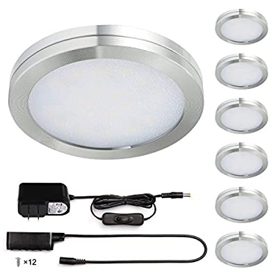 Kohree LED Under Cabinet Lighting, Closet Lights, 1140lm Puck Lights 3000K Warm White Adapter DC 12V 12W All Accessories Included, Set of 6