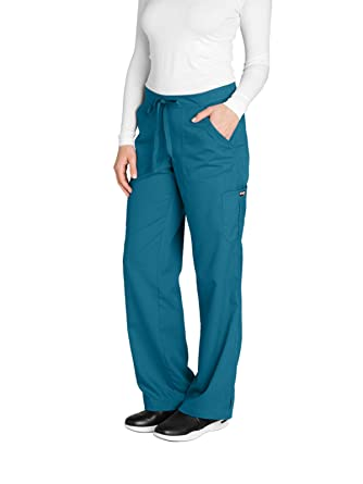 89acbc9050e Grey's Anatomy Women's 4245 Junior Fit 4-Pocket Elastic Back Scrub Pants,  Bahama Blue