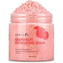 Grapefruit Body & Facial Scrub Exfoliator with Dead Sea Salt, Gently Exfoliates & Moisturizes Skin with Ultra Essential Oils & Vitamin E, Natural Pore Minimizer & Reduces Wrinkles, Acne Scars, 12 oz