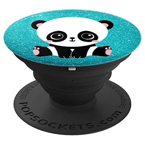 (Cute Kawaii Panda Bear Colorful Teal Sparkle Effect - PopSockets Grip and Stand for Phones and Tablets)