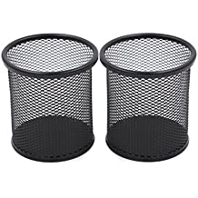 EasyPAG 2 Pcs 3.5 inch Round Mesh Cup Desk Pen Pencil Holder, Black