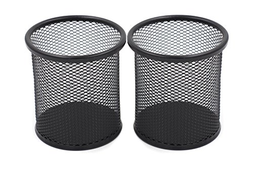 easypag 2 pcs 3.5 inch round mesh cup desk pen pencil holder , black