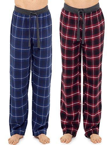 Hombre 2 Paquete 100% Algodón a Cuadros Pijama Pantalones de andar por casa Pantalones Con Calcetines - Azul/Rojo, Medium: Amazon.es: Ropa y accesorios