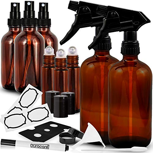 Duracare Amber Glass Spray Bottles 2 16oz Trigger Sprayers w Screw Cap, 3 2oz Mist Sprayers, 3 10ml Stainless Steel Roller Bottles w Labels and Washable Marker, Cap, Dropper and Funnel-BPA-free