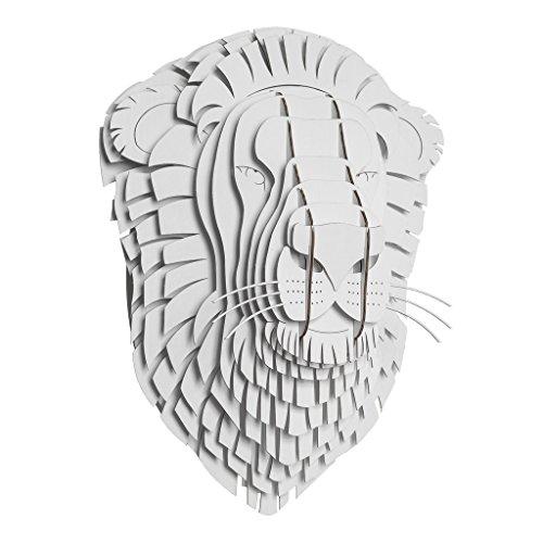 White Birch Head - Cardboard Safari Recycled Cardboard Animal Taxidermy Lion Trophy Head, Leon White Medium