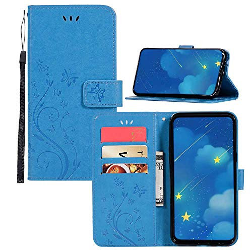 PU Leather Wallet Flip Case iPhone 4S IVY [Embossed Series Butterflies & Flowers] with Wrist Strap Folio Cover for iPhone 4 - Blue