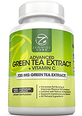 Green Tea Extract Supplement — Decaffeinated, Vegetarian Pills Support Weight Loss, Heart Health with EGCG And Vitamin C for An Added Health Boost