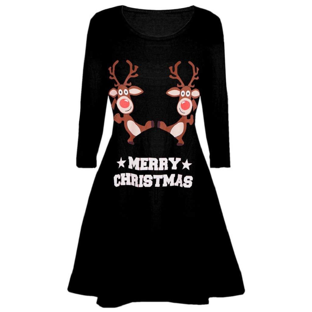 Soupliebe Frauen Weihnachtsdruckkleid Damen Langes Hü lsen Minikleid Abendkleider Cocktailkleid Partykleider Blusenkleid