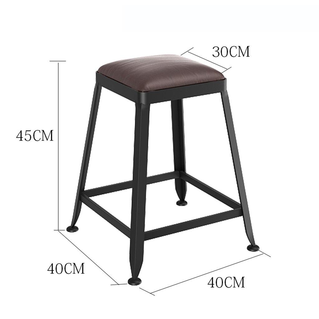 IAIZI バースツール、鍛鉄製の椅子PUレザーブラウンスツールフロントデスクチェア(背もたれなし) (サイズ さいず : Height 80cm) B07DQQ92BW Height 80cm Height 80cm