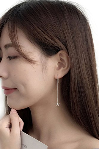 Starfish Ear Wire Earrings earings Dangler Eardrop Korea Creative Personality Star Pentagram Necklace Pendant Women Girls Long