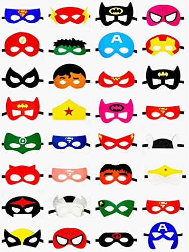 Superhero Party Masks for Kids 32 pc by Hero2Be Birthday Supplies Boys & Girls Costume Accessories Gift ()