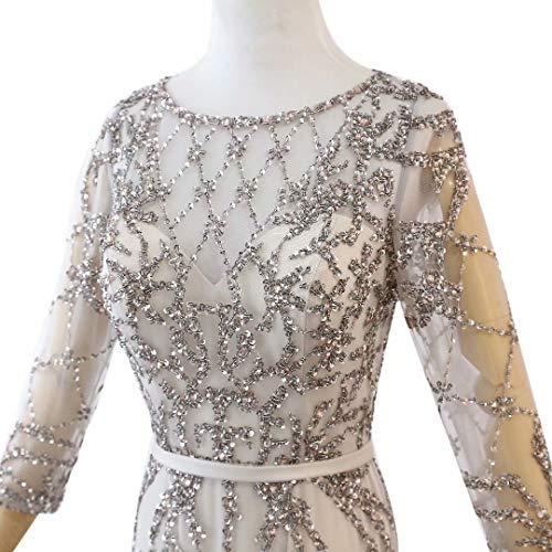 Prom Strass Silber mit Maxi rmeln Frauen King's Lange Kleider Abendkleider Love Formale Langen 6nxgq0R1