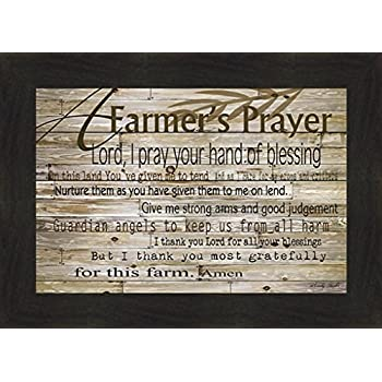 Home Cabin Décor A Farmer's Prayer by Cindy Jacobs 16x22 Country Rustic Sign Thank You for This Farm Farming Framed Art Print Picture