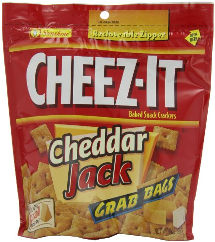 Cheez-It Baked Snack Crackers, Cheddar Jack, 7-Ounce Grab Bags (Pack of 6)