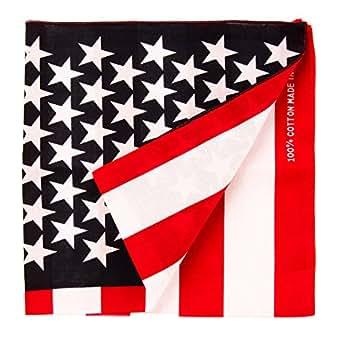 """Bandanas By The Dozen 100% Cotton, Head Wrap 22"""" x 22"""", American Flag, Size 22"""" X 22"""""""