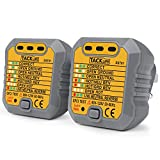 Tacklife EST02 Outlet Tester Socket Tester Automatic Electric Circuit Detector Polarity Checker Wall Plug Breaker Finder for Correct Wiring Neutral Live Earth Wire Testing (2 Packes)