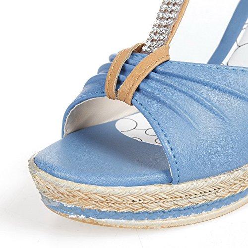 AalarDom Mujer Puntera Abierta Tacón Alto Material Suave Hebilla Sandalias de vestir Azul