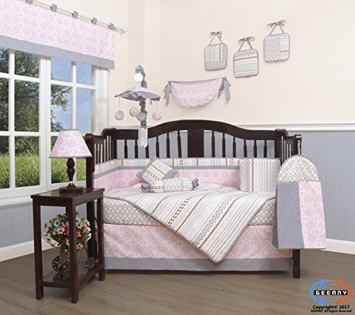 Boutique Baby Pink Grey Bohemia Geometry 13 Piece Nursery CRIB BEDDING SET