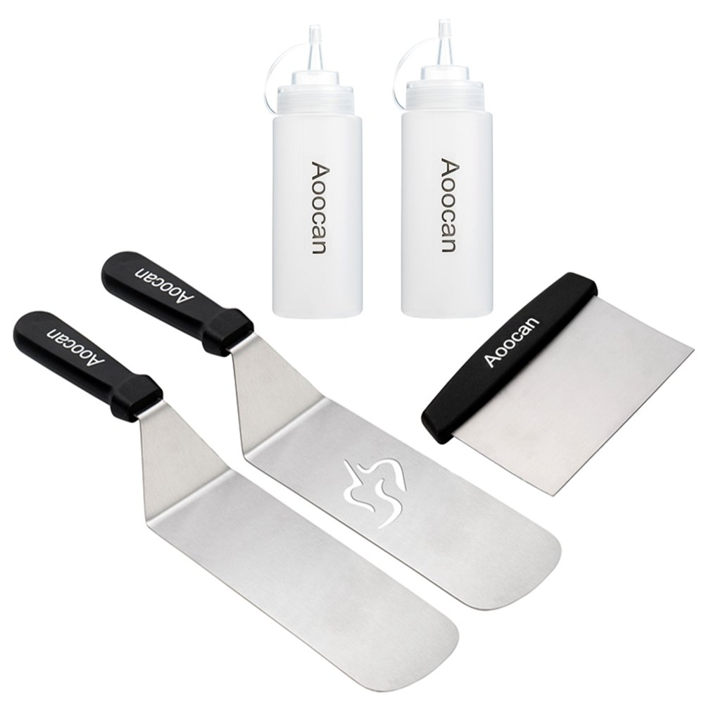 Aoocan Grill Set -5 Piece BBQ Tools- Heavy Duty Stainless Steel Professional Grade Grill Griddle BBQ Tool Kit - Great for Backyard Kitchen Flat Top Cooking, 2 Spatula, 1 Chopper Scrapper,2 Bottle