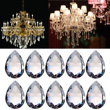 Gold Hill Flush Fixture (Pendant Light Accessories - 10pcs Clear Chandelier Glass Crystal Lighting Prisms Hanging Drops Pendants 38mm)