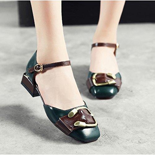 Bouche Retro Couleur Chaussures Tête Casual femme En taille Simple Printemps Chaussures Boucle Métal Beige Foncé Vert Carré Britannique Profonde Femmes Style Femelle HWF 39 Peu Chaussures PtqFRxw