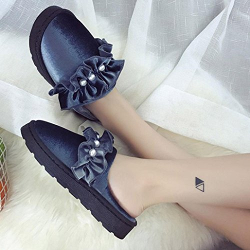 Womens Slip-On Slippers Comfortable Soft Pearl Fur Flat Slipper Flip Flop Home Indoor Outdoor Shoes