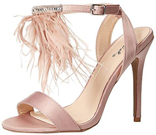 Matte Satin Rhinestone Shoe (Qupid Women's Ara-341X Heeled Sandal, Nude, 5.5 M US)