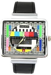 YouYouPifa Synthetic Leather Band Luxury Square TV Test Analog Quartz Wrist Watch (Black)
