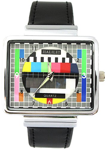 YouYouPifa Synthetic Leather Band Luxury Square TV Test Analog Quartz Wrist Watch (Black)